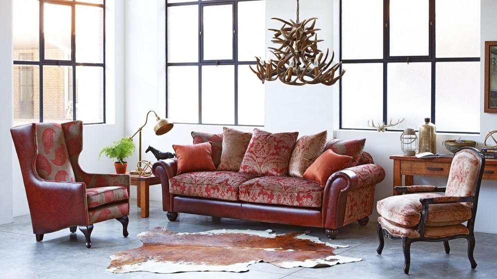 Wakefield 3 Seater Fabric Leather Sofa