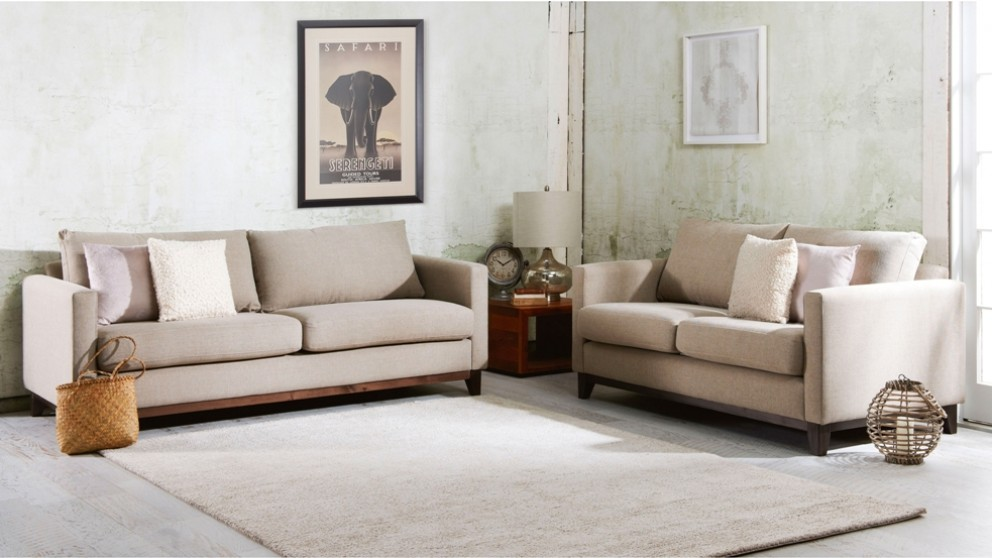 Cooper 3 seater fabric sofa lounges living room for Living room furniture australia