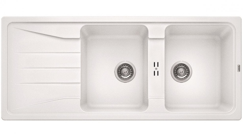Blanco Silgranit 26L Double Bowl Inset Sink with Drainer - White