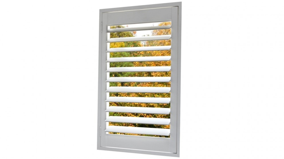 Trendvue 89mm Small L-Frame Reveal Fit Faux Wood Shutter - Earl Grey