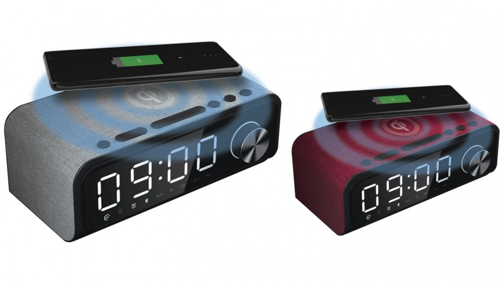 Laser 4-in-1 Digital Alarm Clock Radio with Qi Wireless Charging