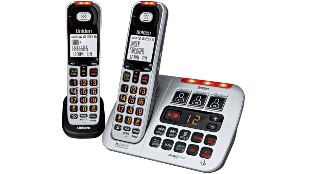Uniden SSE45+1 Twin Handset Sight & Sound Enhanced Cordless Phone - Silver