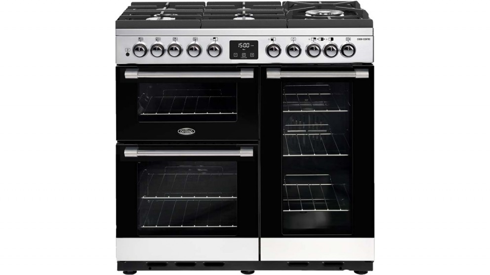 Belling 900mm CookCentre Deluxe Dual Fuel Glass Range Cooker - Stainless Steel