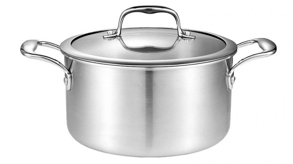 SOGA 22cm Soup Stockpot With Heavy Duty Thick Bottom with Glass Lid - Stainless Steel