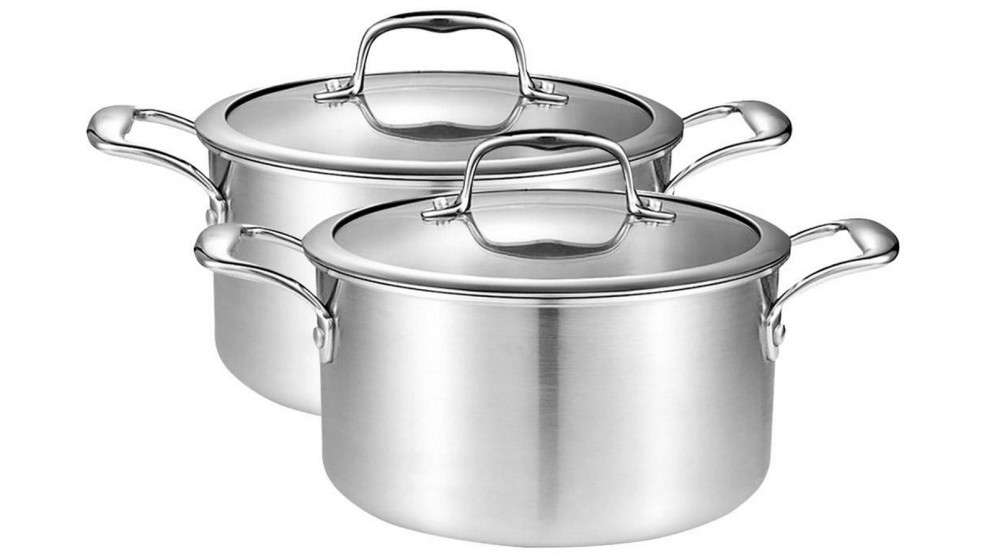 SOGA 2 x 26cm Soup Stockpot With Heavy Duty Thick Bottom with Glass Lid - Stainless Steel