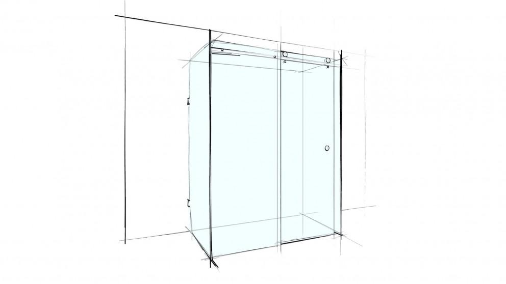 Verotti Custom 1200mm 4 Panel Sliding U-Shape Shower Screen - Clear