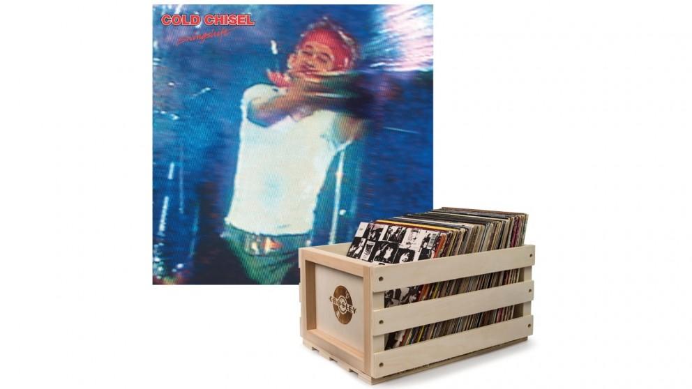 Crosley Record Storage Crate & Cold Chisel Swingshift - Double Vinyl Album Bundle