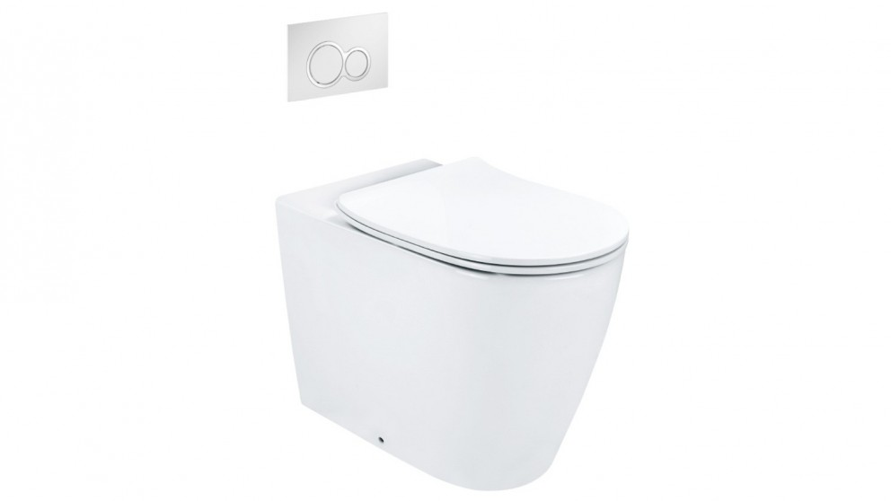 Arcisan Synergii Wall Faced Pan with In Wall Cistern and Kibo Chrome Flush Panel