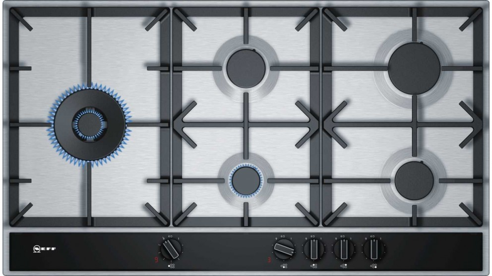 NEFF 900mm 5 Burner Gas Cooktop with Integrated Control - Stainless Steel