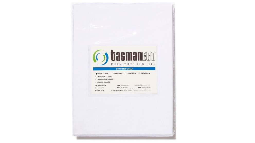 Tasman Eco Fitted Cot Sheet 132 x 77cm - White