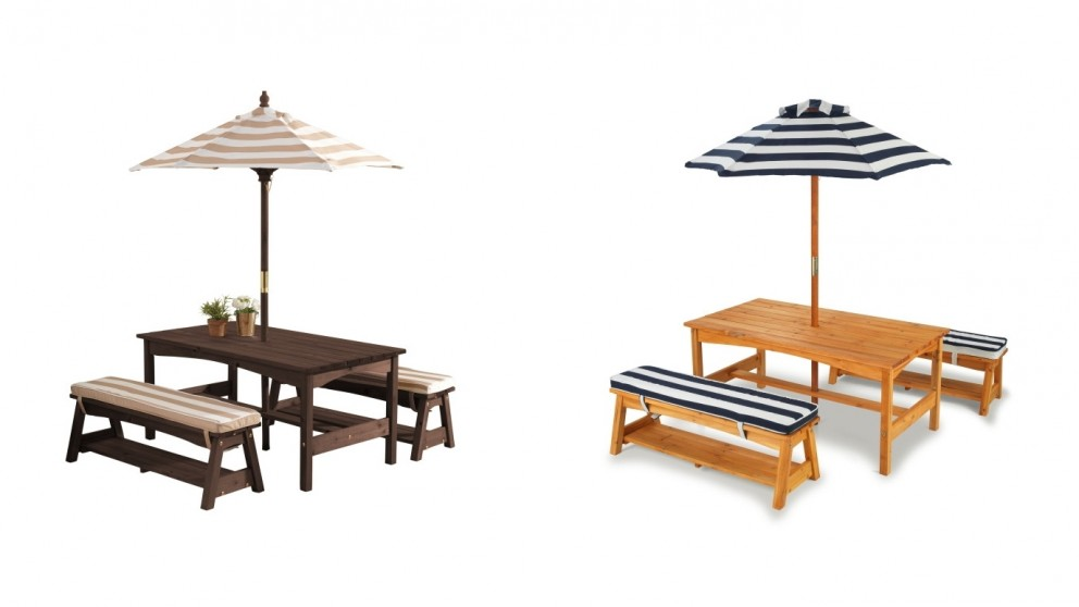 Table and Bench with Cushion and Umbrella