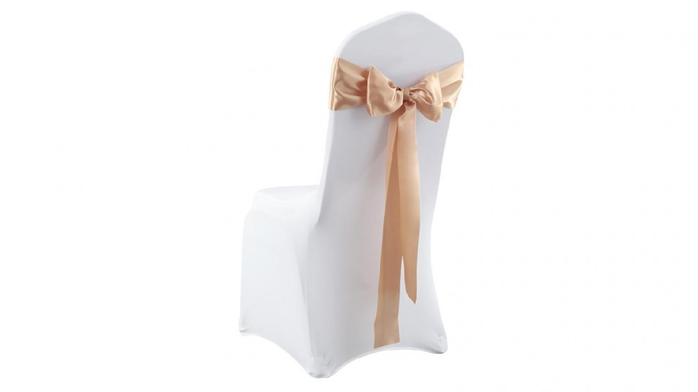20x Satin Chair Covers -Bow Only -Gold