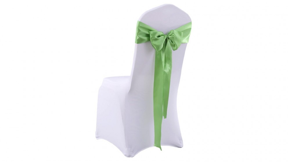 20x Satin Chair Covers -Bow Only -Green