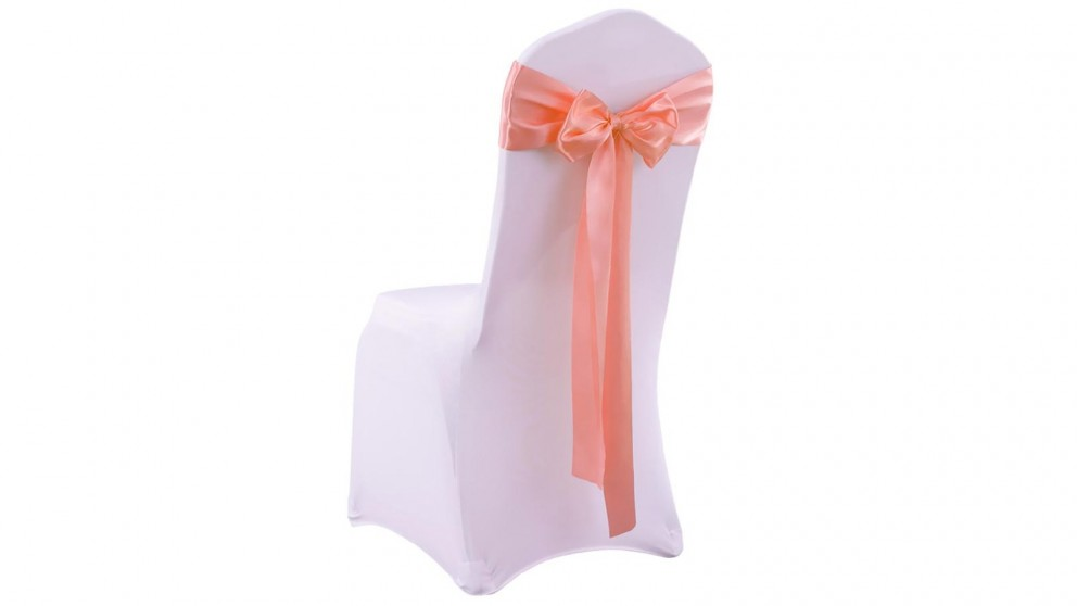 20x Satin Chair Covers -Bow Only -Coral