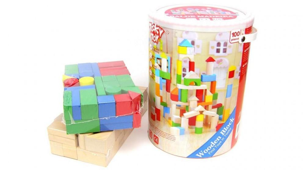 Tooky Toy Wooden Blocks - 100 pieces