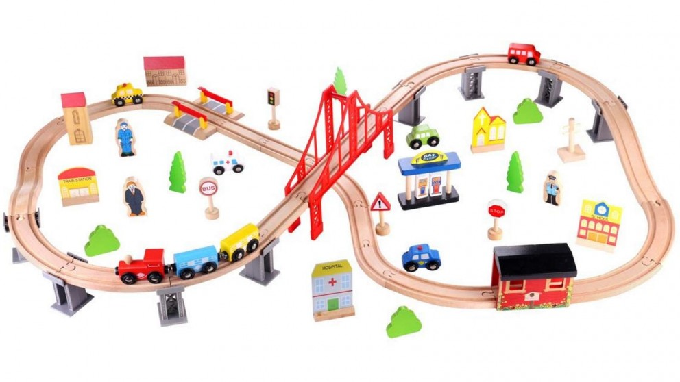 Tooky Toy 70 Piece Wooden Train Set