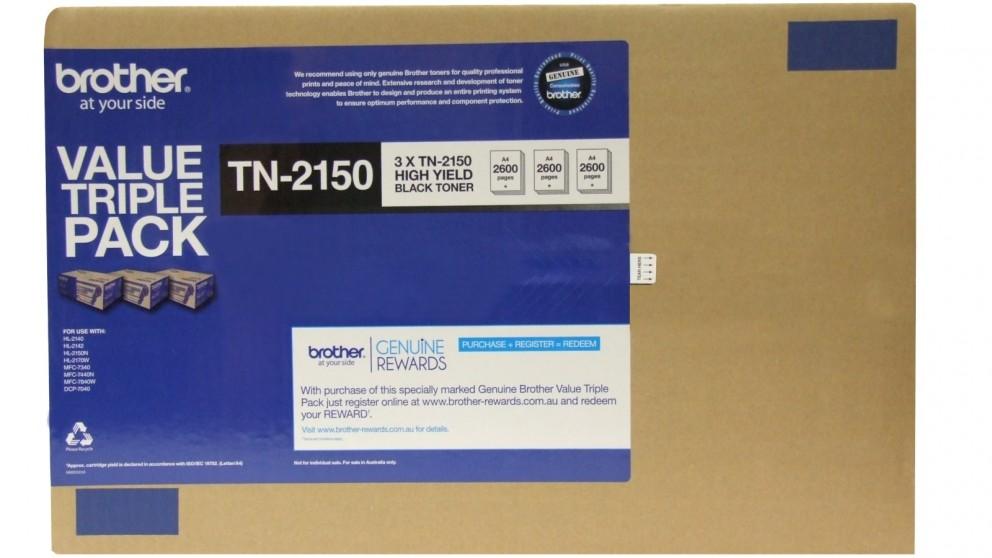 Brother 3-Pack TN-2150 Black Toner