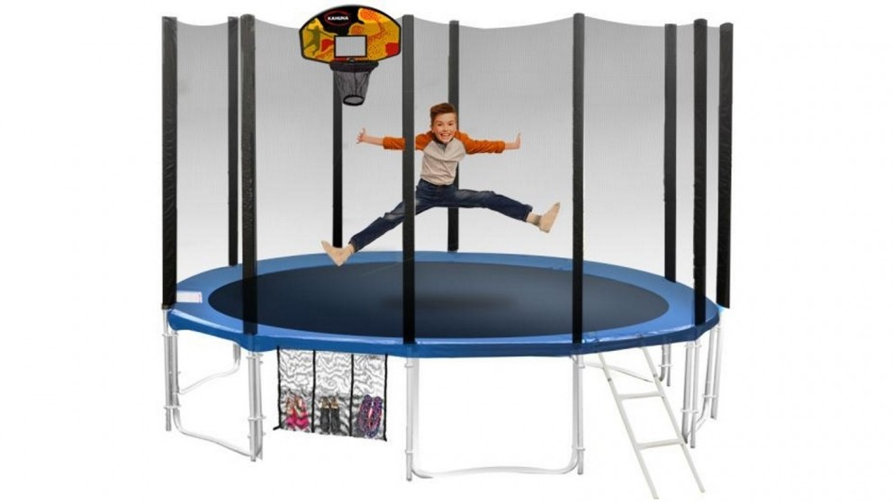 Blizzard Blue Trampoline with Basketball Set
