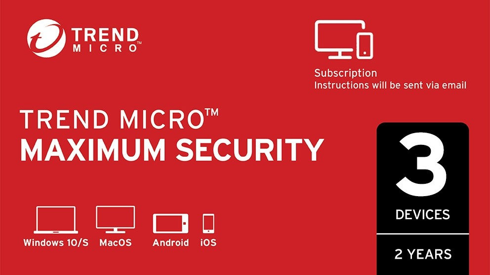 Trend Micro Maximum Security Digital Download - 2 Years for 3 Devices