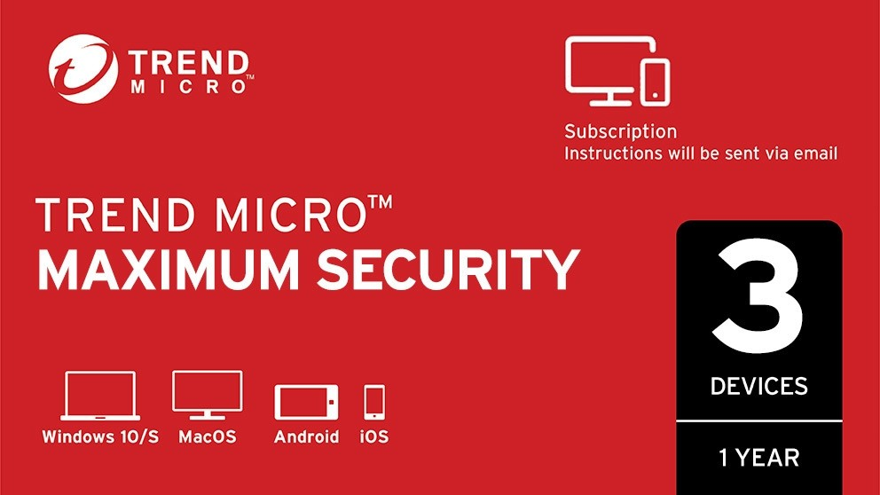 Trend Micro Maximum Security Digital Download - 12 Months for 3 Devices
