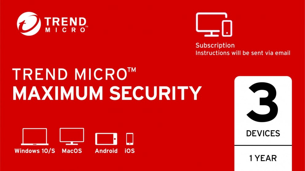 Trend Micro Maximum Security Digital Download - 1 Year for 3 Devices