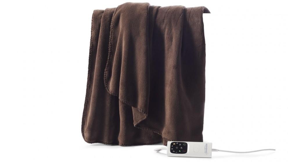 Sunbeam Feel Perfect Cosy Micro Fleece Heated Throw - Brown