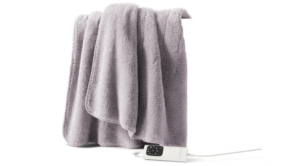 Sunbeam Feel Perfect Sherpa Fleece Heated Throw - Light Grey