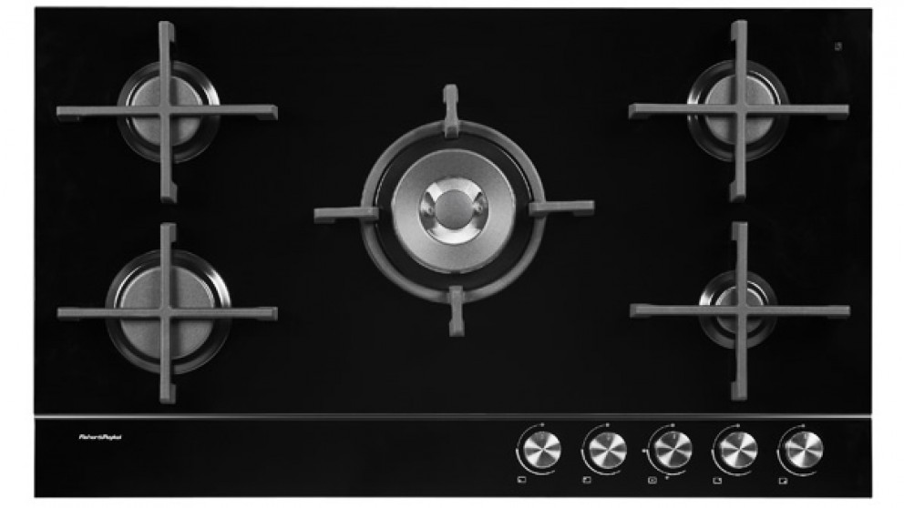 Fisher & Paykel 900mm 5 Burner Natural Gas on Glass Cooktop - Black
