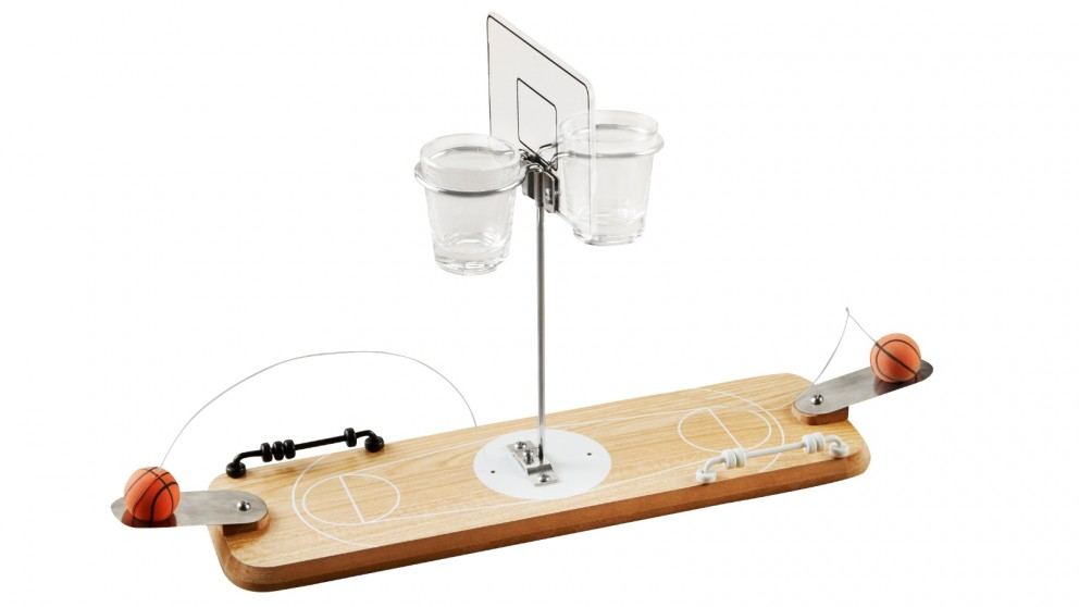 Refinery Game Basketball Wood with Shot Glass