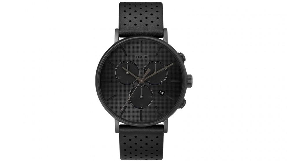 TIMEX Fairfield Chronograph Supernova 41mm Leather Strap Watch - Black