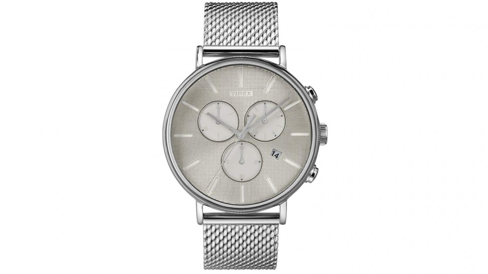TIMEX Fairfield Supernova Chronograph 41mm Stainless Steel Mesh Band Watch - Silver