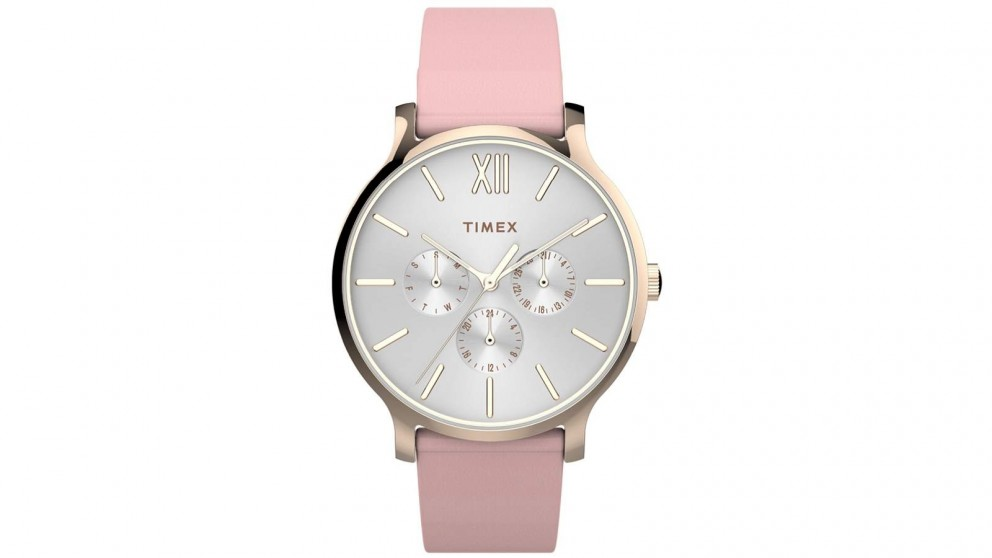 TIMEX Transcend Multifunction 38mm Leather Strap Watch - Pink