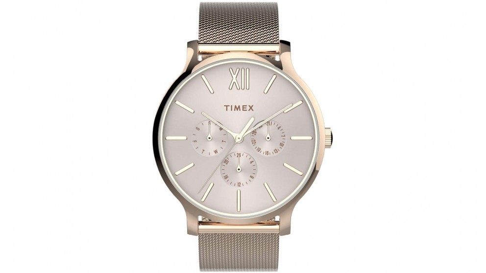 TIMEX Transcend Multifunction 38mm Stainless Steel Mesh Band Watch - Rose Gold