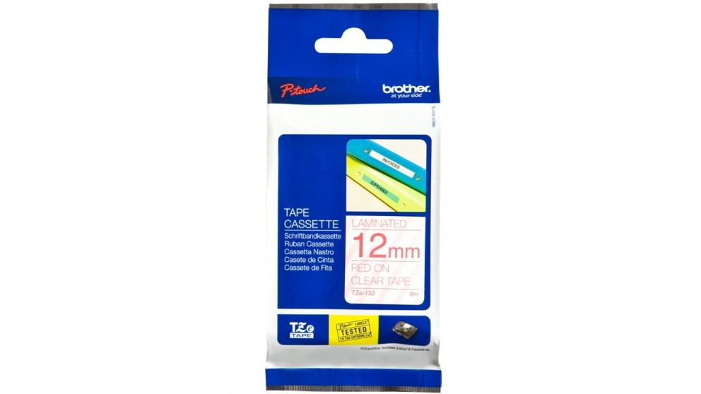 Brother TZE-132 12mm Red on Clear Laminated Tape