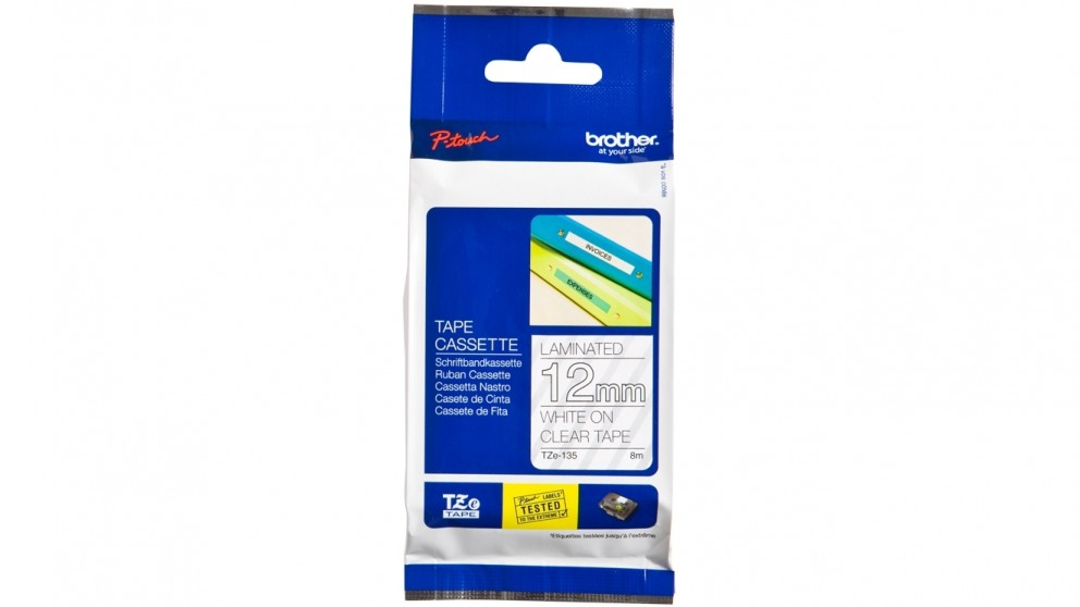 Brother TZE-135 12mm White on Clear Laminated Tape