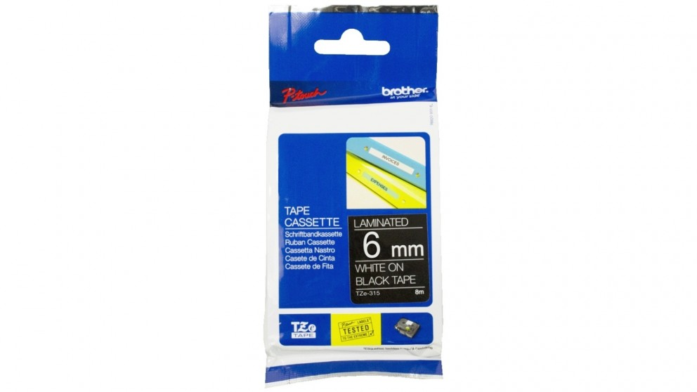 Brother TZE-315 6mm White on Black Laminated Tape