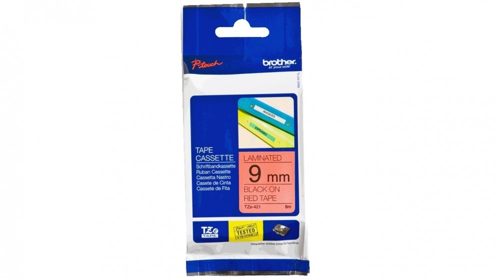 Brother TZE-421 9mm Black on Red Laminated Tape