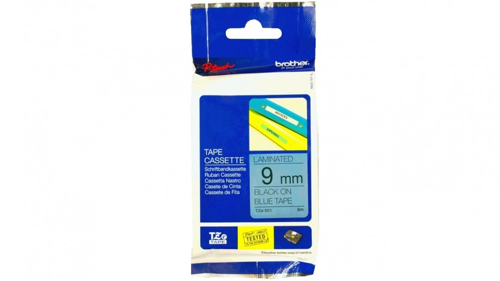 Brother TZE-521 9mm Black on Blue Laminated Tape