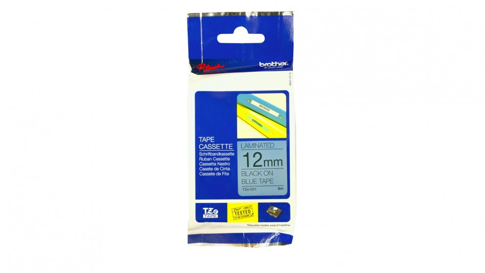 Brother TZE-531 12mm Black on Blue TZE Tape