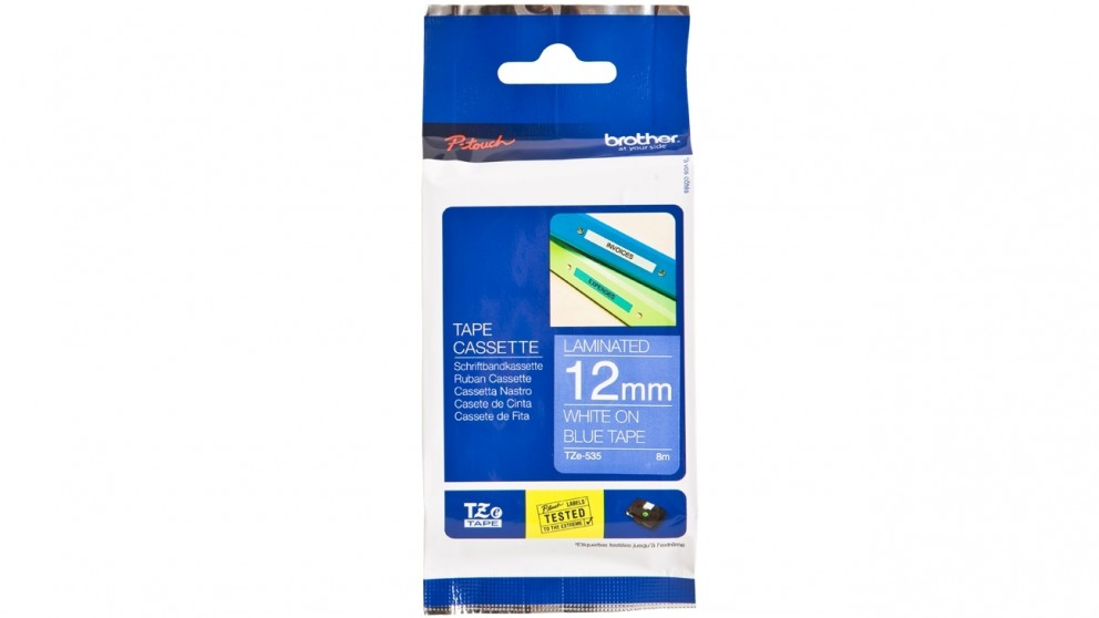 Brother 12mm White on Blue Laminated Tape