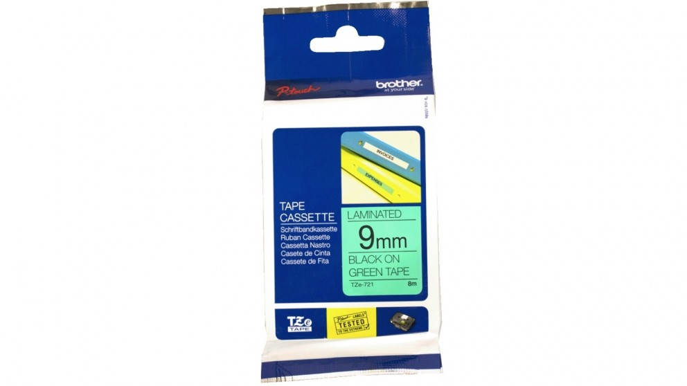 Brother TZE-721 9mm Black on Green Laminated Tape