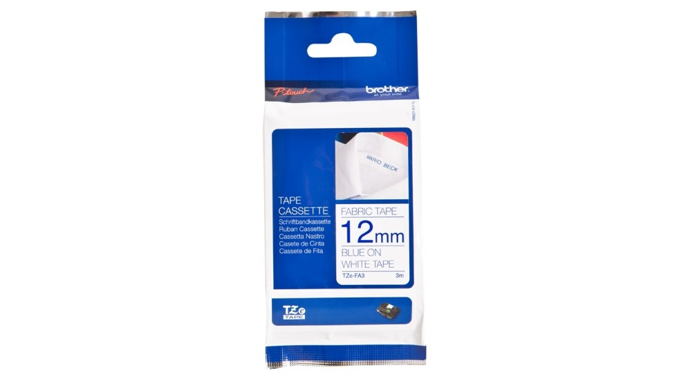 Brother 12mm Navy Blue on White Fabric Iron-on Tape