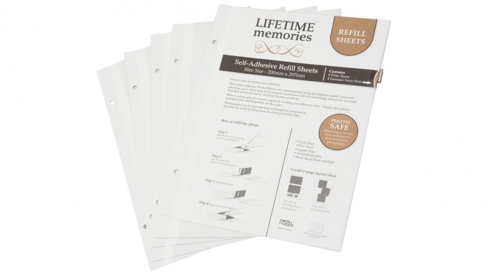 UR1 NCL Self Adhesive 5-Sheets A4 Slim Photo Album Refill - White