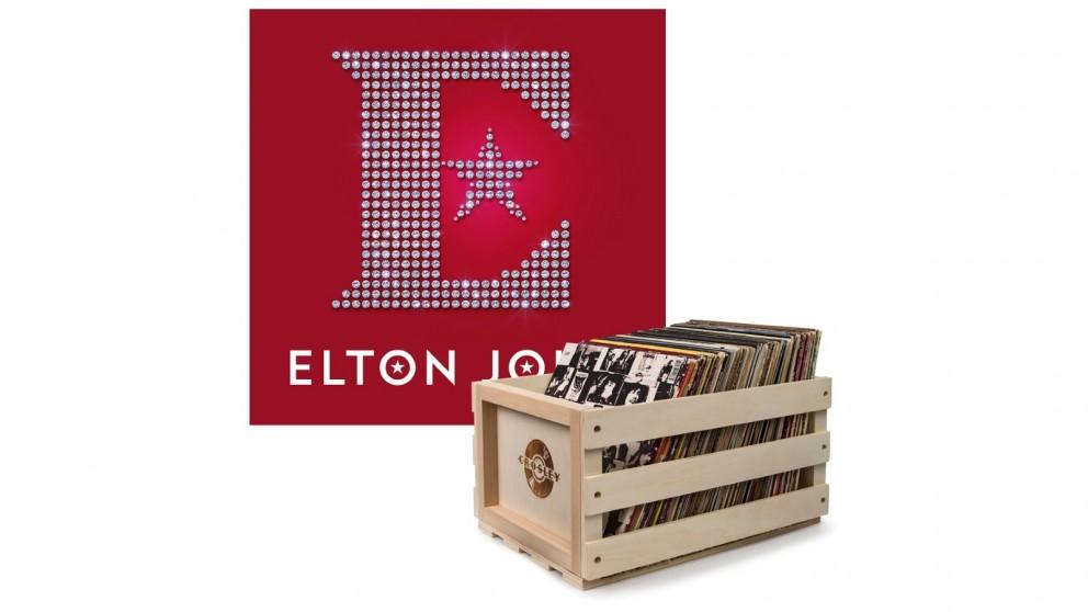Crosley Record Storage Crate & Elton John Diamonds - Double Vinyl Album Bundle