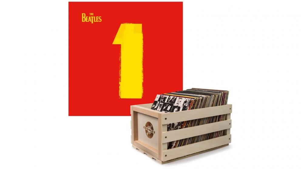 Crosley Record Storage Crate & The Beatles 1 - Double Vinyl Album Bundle