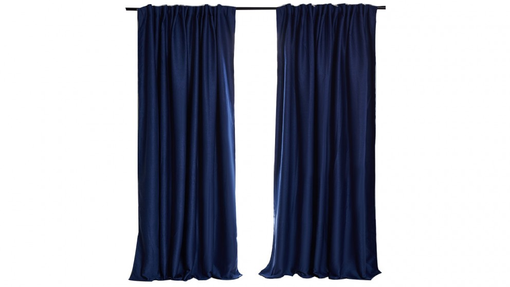 Set of 2 180cm x 230cm Blockout Curtains - Navy