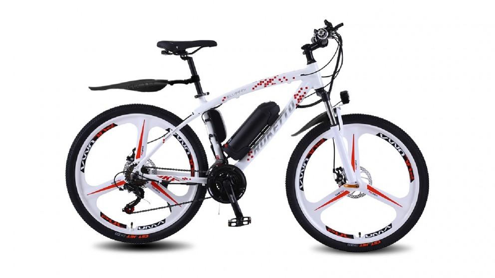 "BMWL Electric Mountain Bike Alloy Frame 26"" - White"