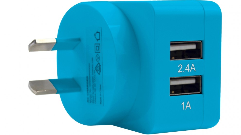 3SIXT Dual 3.4A USB Wall Charger - Blue