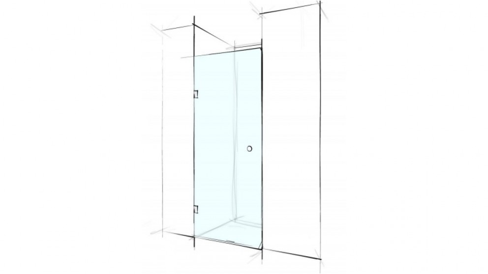 Verotti Custom 600mm Front Only Wall to Wall Pivot Door Shower Screen - Clear