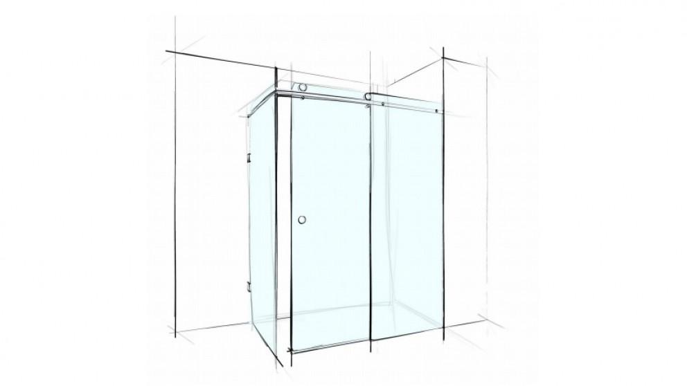 Verotti Custom Slider 1200mm Front/Return Square Corner Set In 3 Panels Shower Screen - Clear